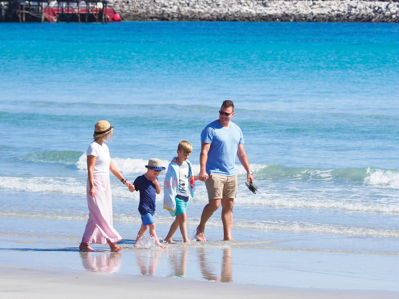 Family on the beach at KI