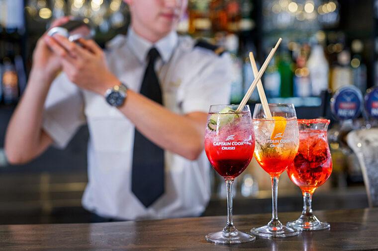 Waiter preparing cocktails on Sydney 2000 bar
