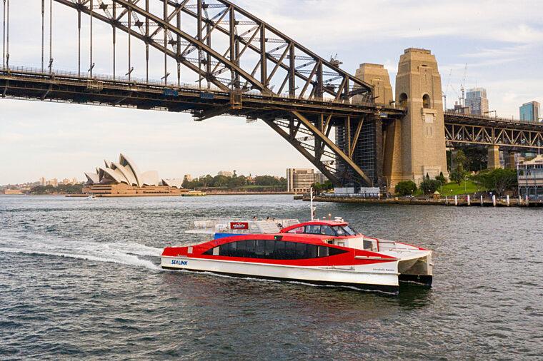 Hop On Hop Off ferry Rocket 2 decks Annabelle Rankin boat cruising past Harbour Bridge sightseeing