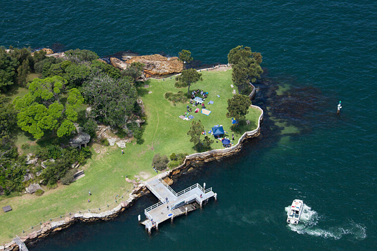 Aerial shot of Shark Island attraction HOHO sightseeing national park non-ccc dnsw