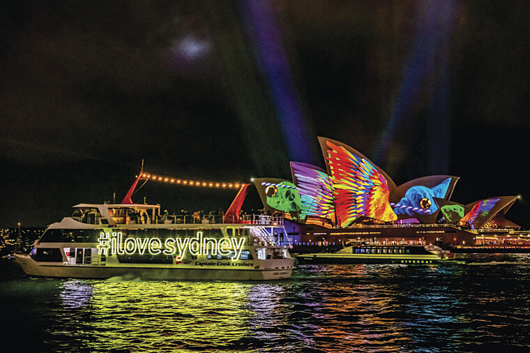 John Cadman 2 hero shot #ilovesydney with Opera House during Vivid night special event non-ccc dnsw