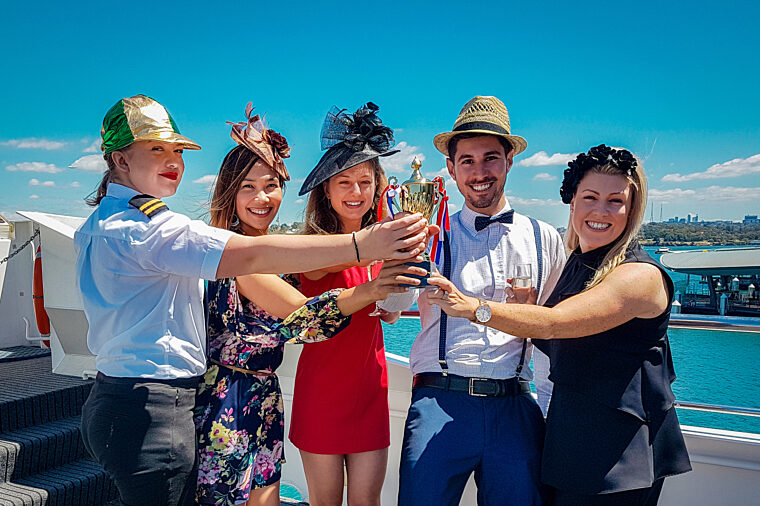 Melbourne Cup hero shot group toasting champagne special event