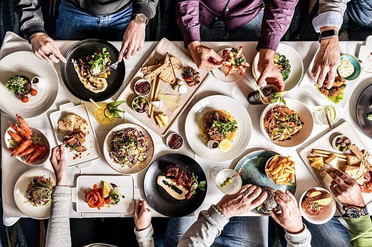 Restaurant food menu group casual dining plates