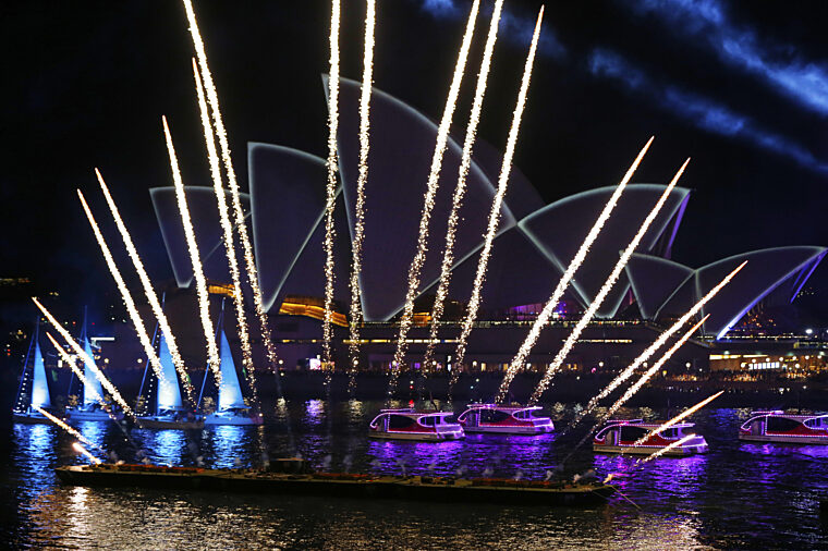 Australia Day Live during the night fireworks with sail boats and tubbies performance non-ccc special events