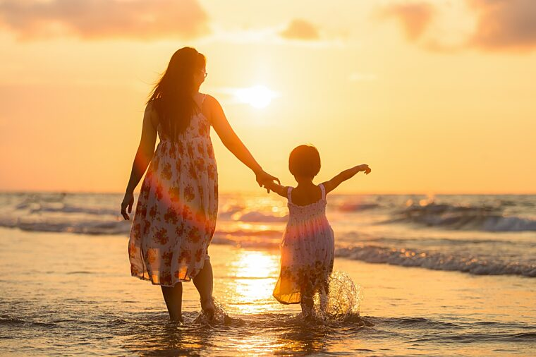 Child and Mother on Beach