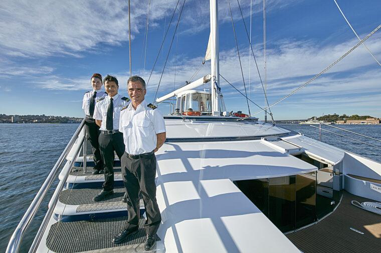Sydney Crystal exterior shot of crew staff boat charter fleet