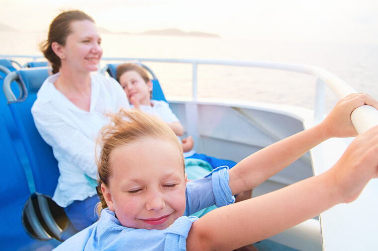 Family fun onboard a ferry sightseeing with kids and mum