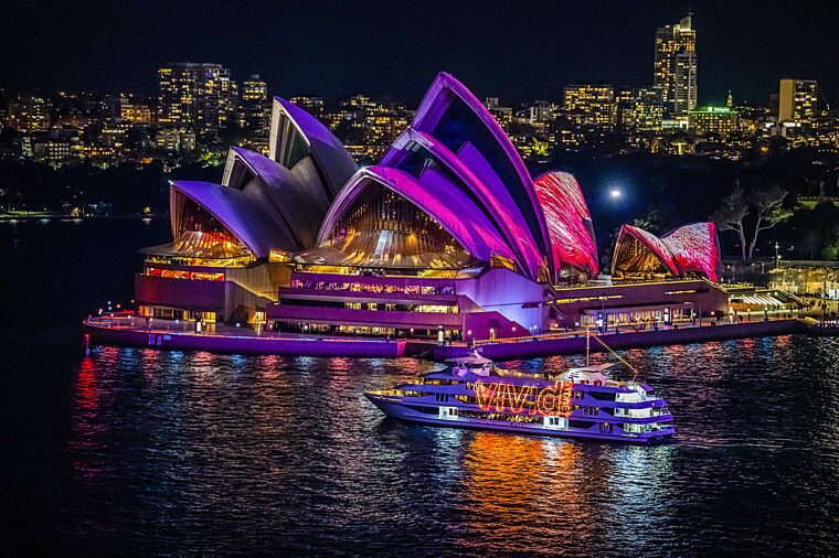 Special Event Vivid with Sydney 2000 cruising by the Opera House with lights on non-ccc dnsw