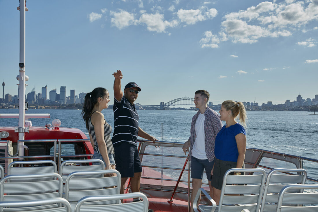 Rocket ferry commuter guests sightseeing with crew