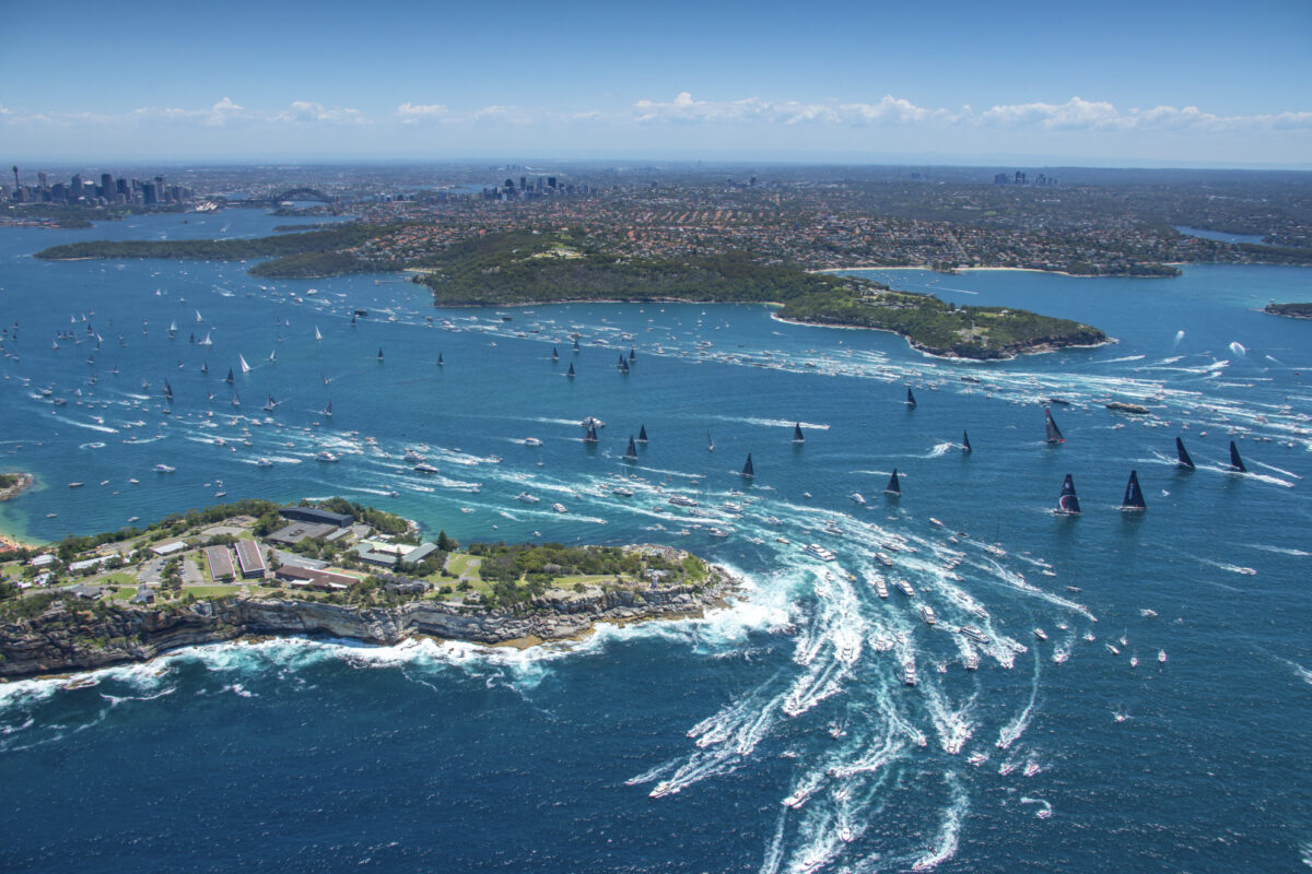 Aerial shot of Sydney to Hobart yacht race outside the heads on Boxing Day non-ccc dnsw special event sail