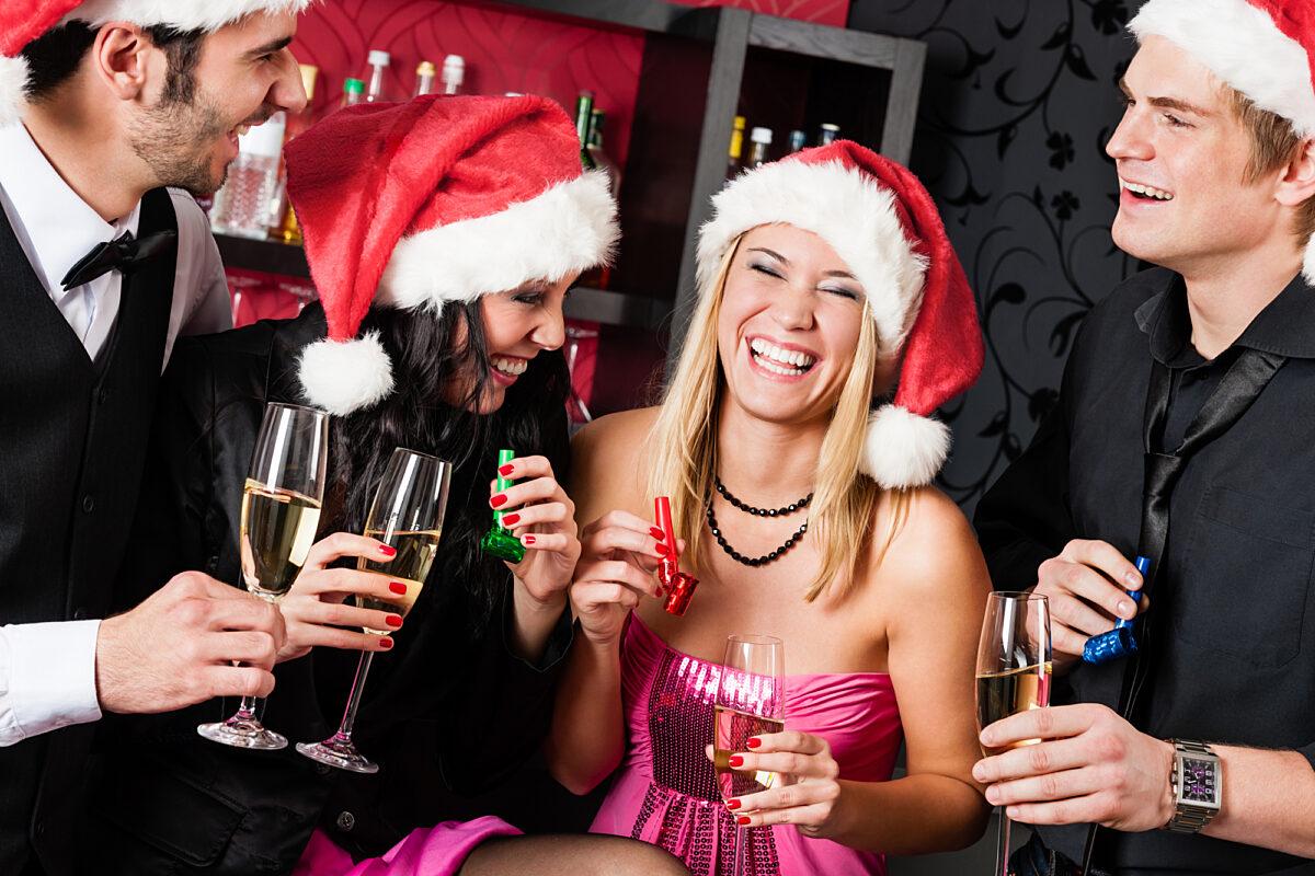 Christmas Group Smiling Wine
